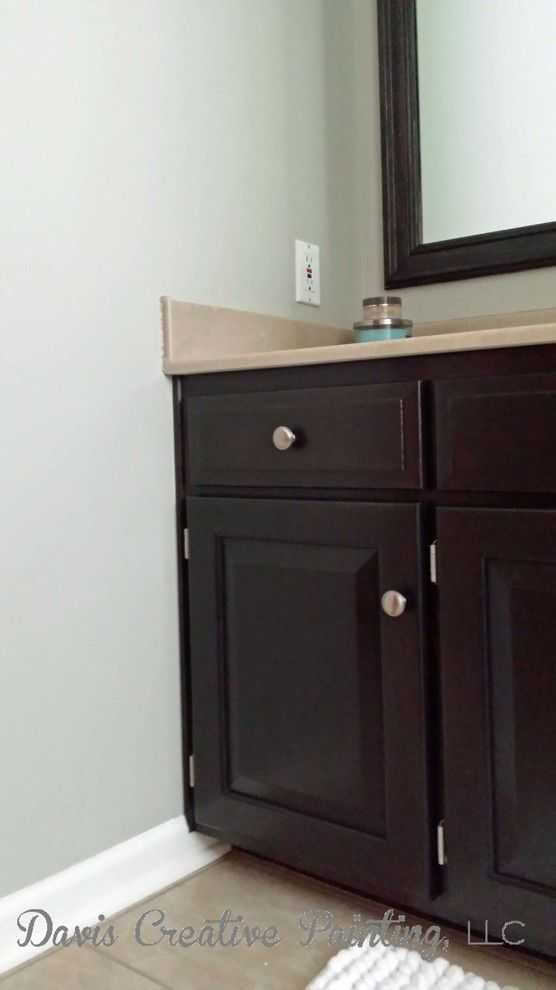 How to Restain Cabinets for a Transitional Bathroom with a Restain Bathroom Cabinets and Bathroom Vanity by Davis Creative Painting, Llc