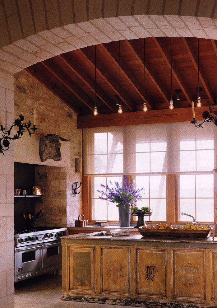 How to Texture Drywall for a Farmhouse Kitchen with a Wood Ceiling and Traditional Kitchen by Peter Vitale Photography