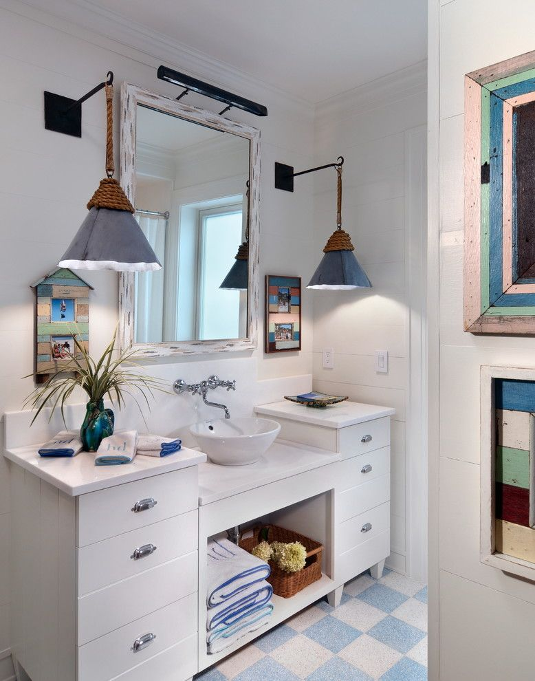 How to Unclog a Bathroom Sink for a Beach Style Bathroom with a Checkerboard Floor and Beach Cottage by Morales Construction Co., Inc.