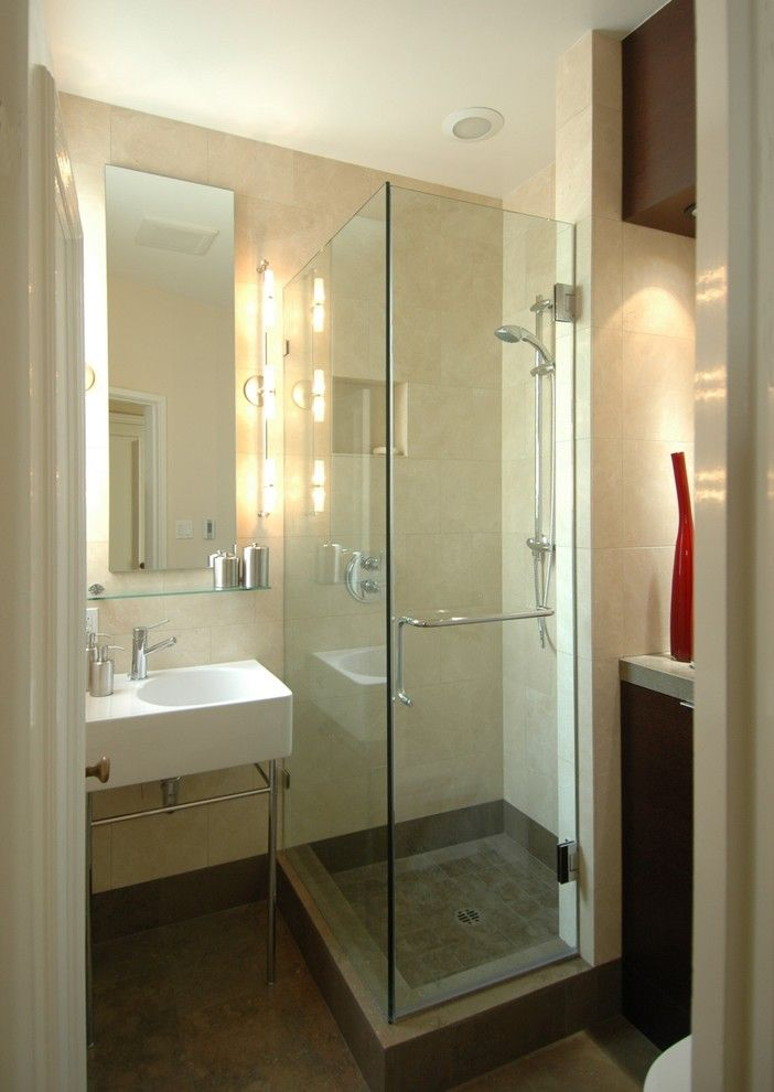 How to Unclog a Bathroom Sink for a Contemporary Bathroom with a Glass Shower and Striking a Balance Bathroom by Mark Brand Architecture