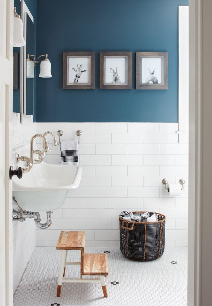How to Unclog a Bathroom Sink for a Farmhouse Bathroom with a Blue and Gray Farmhouse and This Old House   Northshore Farmhouse by Kristina Crestin Design