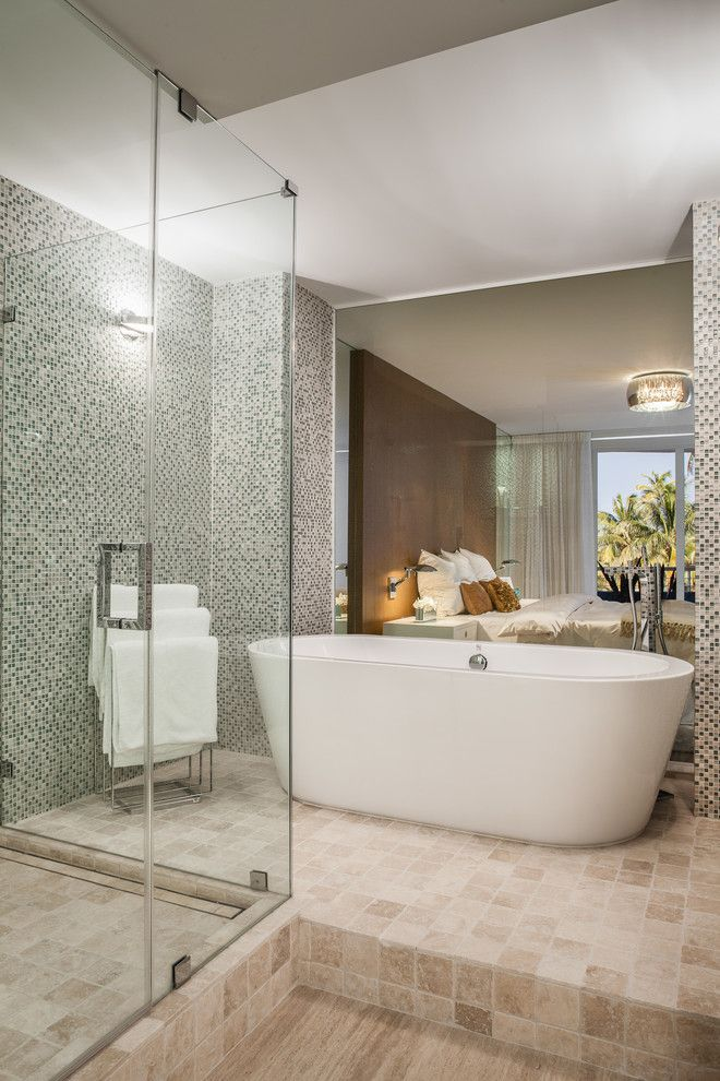 How to Unclog a Bathtub Drain for a Contemporary Bathroom with a Gray Mosaic Tile Wall and Ocean Drive Condo by 2id Interiors