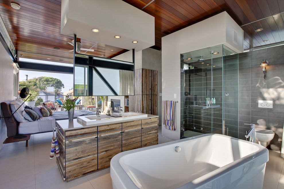 How to Unclog a Bathtub Drain for a Modern Bathroom with a Wood Ceiling and Boiler Residence by James R. Meyer