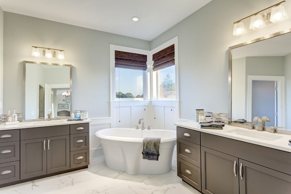 How to Unclog a Bathtub Drain for a Traditional Bathroom with a Marble Floor and the Nantucket Show Home by Axiom Luxury Homes