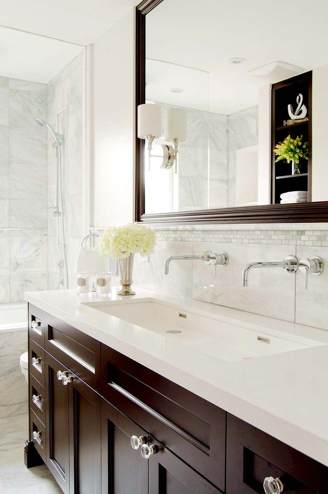 How to Unclog a Bathtub Drain for a Traditional Bathroom with a Unique Cabinet Hardware and Carriage Lane Design Build /carly Nemtean by Stephani Buchman Photography