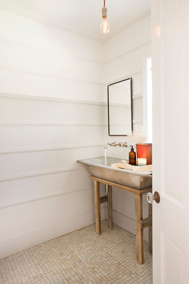 How to Unclog a Sink Drain for a Farmhouse Powder Room with a Wood Paneling and Valley Vista by Thea Home Inc