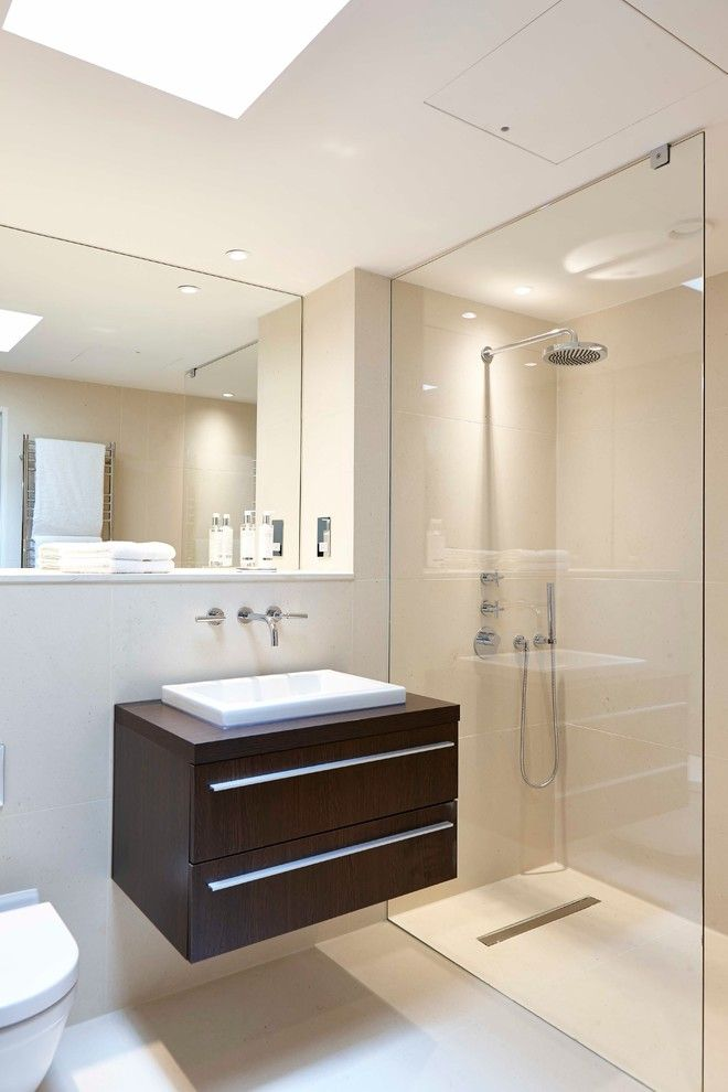 How to Unclog Shower Drain for a Contemporary Bathroom with a Bathroom Mirror and a Place to Wash by Adam Coupe Photography Limited
