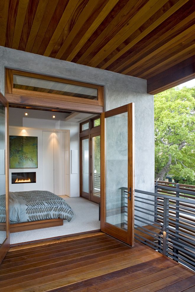 How to Unlock a Bedroom Door for a Modern Bedroom with a Platform Bed and Jewell   Sundeck Bridge by Architects Magnus