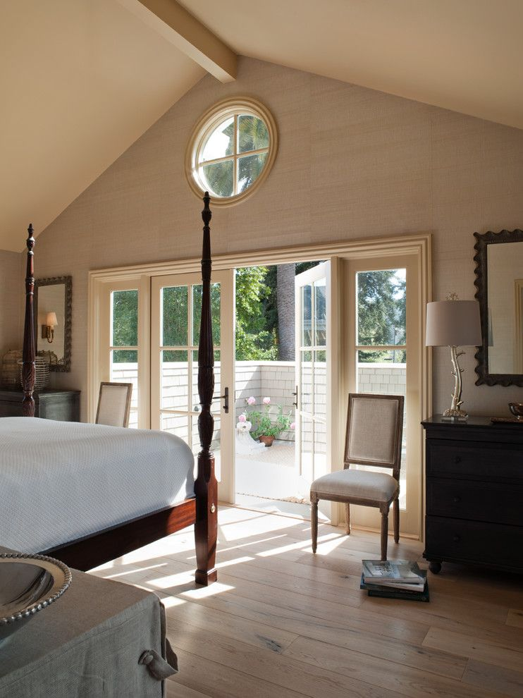 How to Unlock a Bedroom Door for a Traditional Bedroom with a Wood Bed and Mill Valley Classic Cottage by Heydt Designs