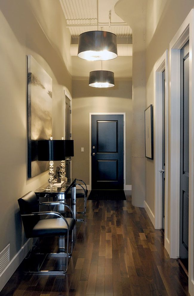 How to Unlock a Bedroom Door for a Transitional Entry with a Wall Art and T Eatons Loft Entrance by Atmosphere Interior Design Inc.