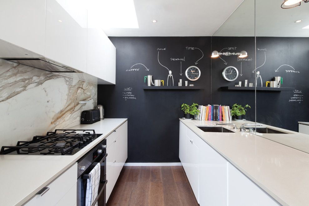 How to Use Annie Sloan Chalk Paint for a Contemporary Kitchen with a Black Feature Wall and Contemporary Kitchen by Domusnova.com