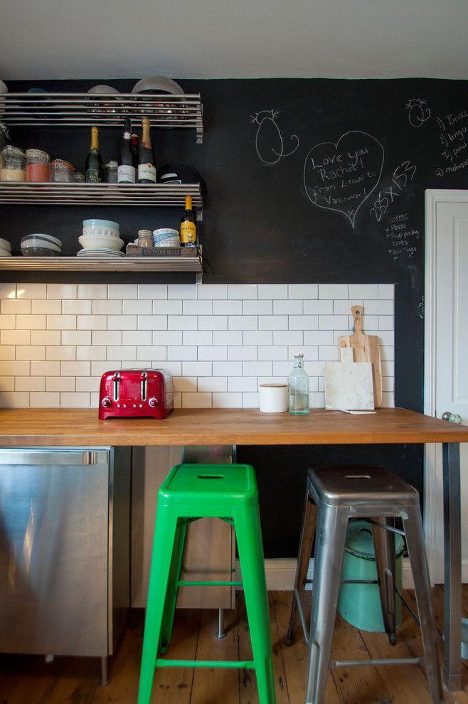 How to Use Annie Sloan Chalk Paint for a Eclectic Kitchen with a Green Stool and North London Flat by Amelia Hallsworth Photography