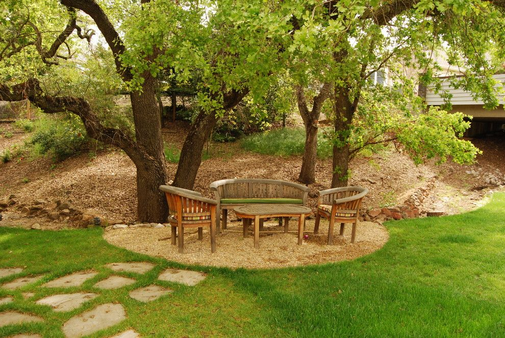 Howard Hill Furniture for a Contemporary Landscape with a Gravel and Oak Tree Retreat by Envision Landscape Studio