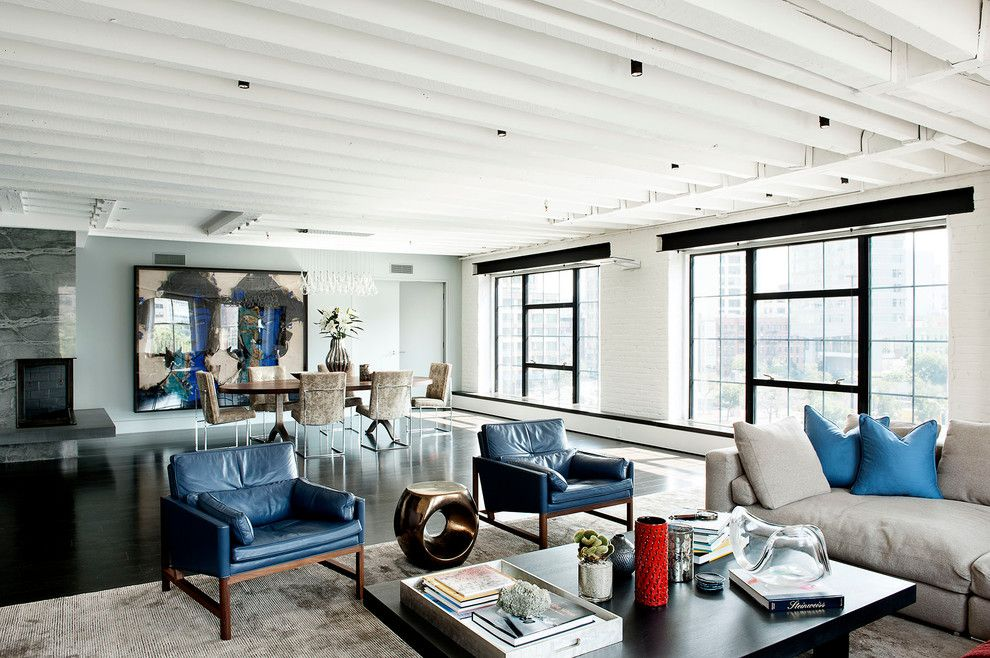 Howell Furniture for a Industrial Living Room with a Exposed Beams and Laight Street Loft by David Howell Design