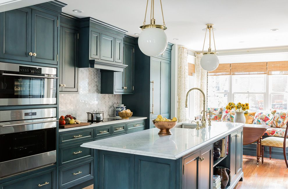 Hudson Appliance for a Traditional Kitchen with a Marble Tile and This Old House, Charlestown Greek Rival Row House by K.marshall Design Inc.