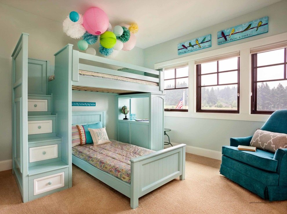 Hunterfan.com for a Traditional Kids with a Built in Desk and Street of Dreams   Portland   2013 by Garrison Hullinger Interior Design Inc.