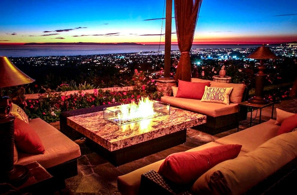 Huntington Beach Fire Pits for a Beach Style Patio with a Outdoor Dining Furniture and Montecito Fire Pit Table by Cooke Furniture
