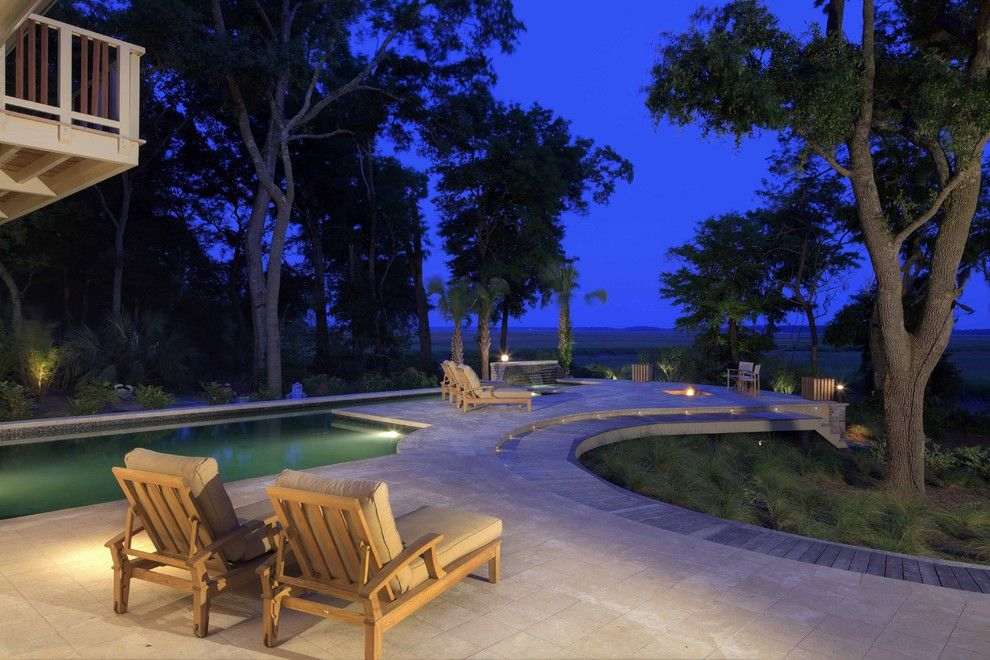 Huntington Beach Fire Pits for a Contemporary Pool with a View and Outdoor Living by Frederick + Frederick Architects