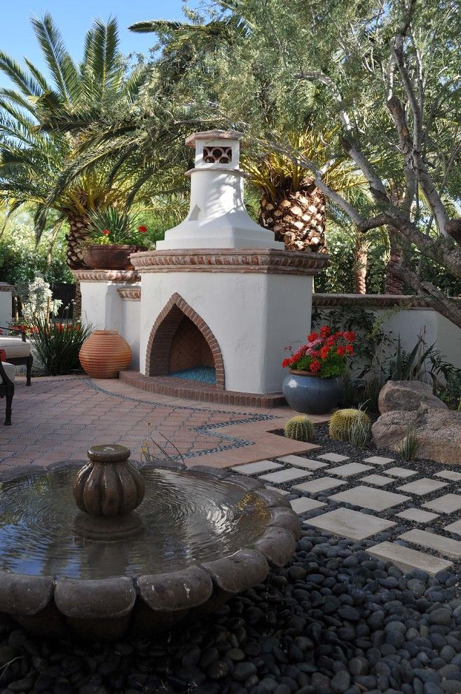 Huntington Beach Fire Pits for a Southwestern Patio with a Palm Trees and Transitional Home by Wendy Black Rodgers Interiors