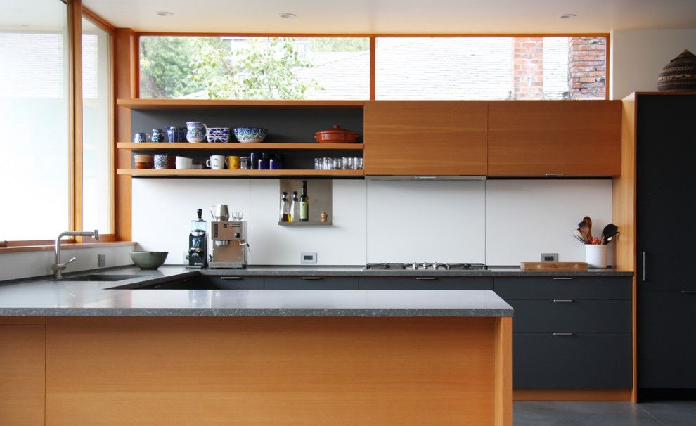 Huppe for a Modern Kitchen with a Gray Cabinets and Main Street Kitchen by Henrybuilt