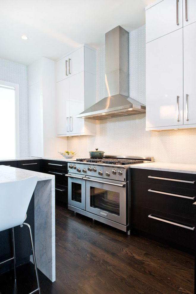 Huppe for a Modern Kitchen with a White Flush Cabinets and Lincoln Park Residence by J Designs, Inc
