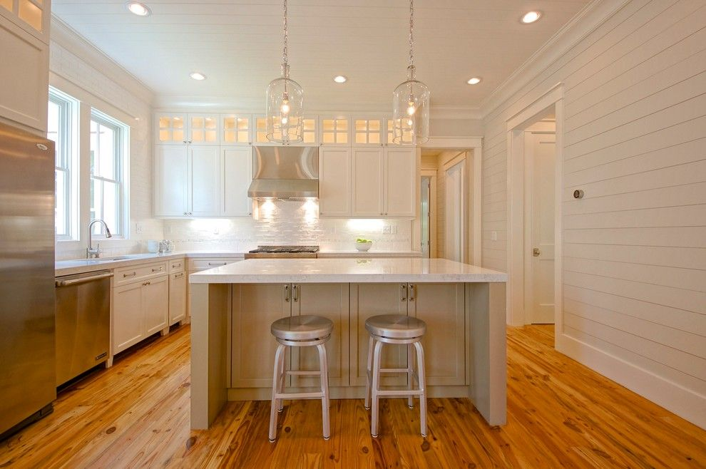 Huppe for a Traditional Kitchen with a Medium Wood Floor and I'on Residence by Melissa Lenox Design