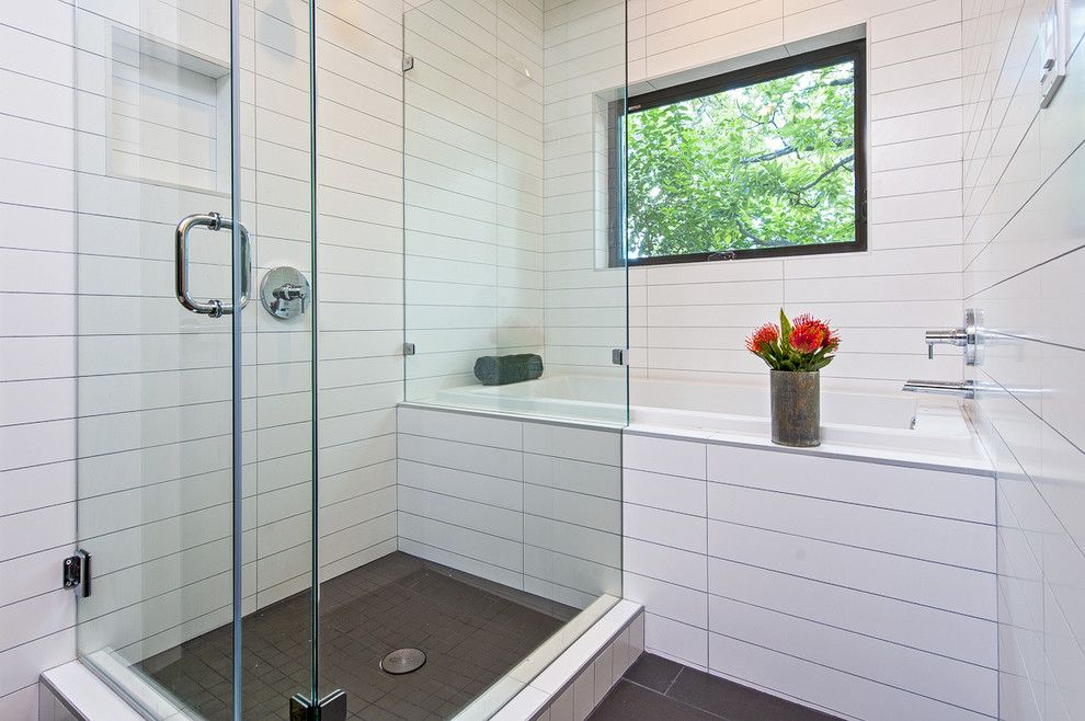 Hyde Park Pittsburgh for a Contemporary Bathroom with a Window Over Bathtub and Hyde Park Residence by Christen Ales Interior Design