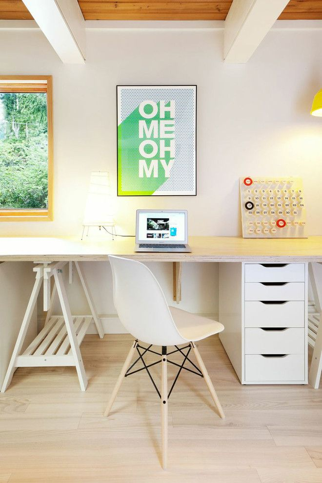 Ikea Assembly Service for a Midcentury Home Office with a Graphic Artwork and Lewis Post & Beam West Vancouver by Smith & Sons Developments