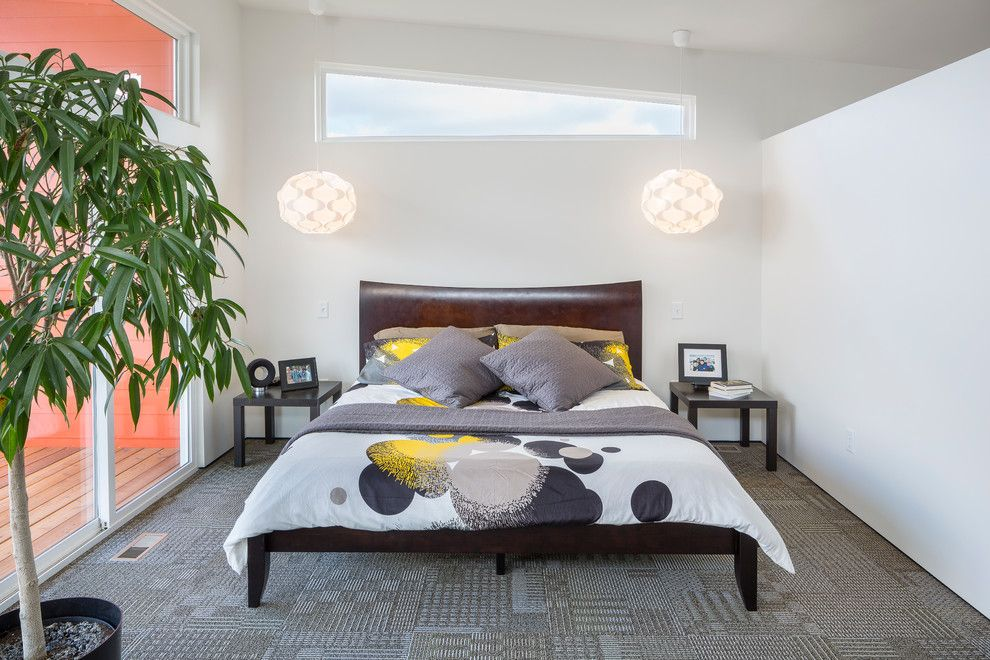 Ikea Brimnes Bed for a Contemporary Bedroom with a Bedding and 1127 Residence by Studiobuild