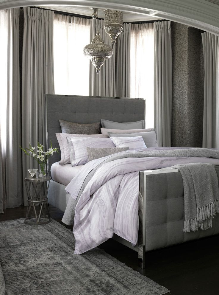 Ikea Brimnes Bed for a Contemporary Bedroom with a Contemporary and Oake Agate Bedding Collection by Bloomingdale's
