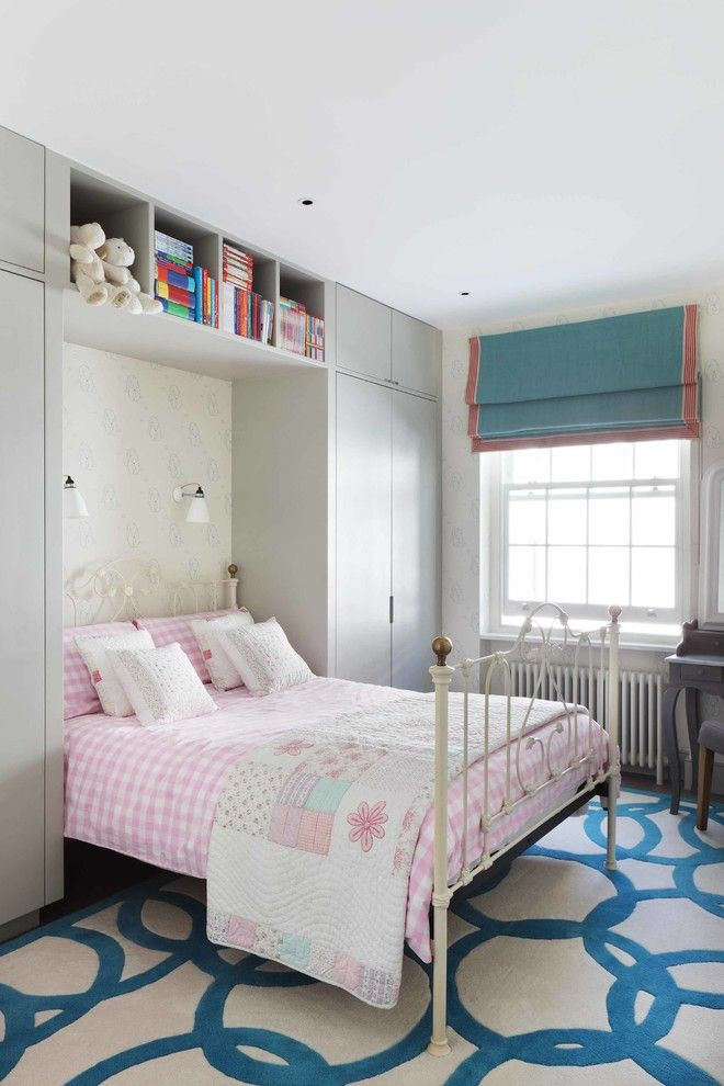 Ikea Brimnes Bed for a Contemporary Kids with a Pink Bedding and London Mews House by Turner Pocock