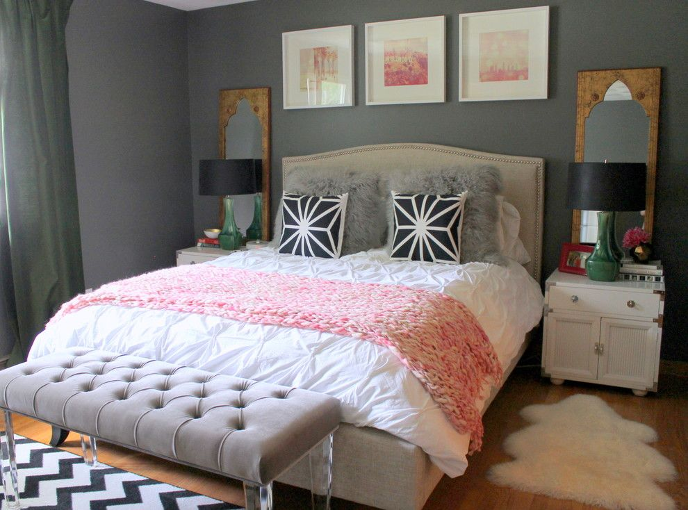 Ikea Brimnes Bed for a Eclectic Bedroom with a Ceramic Table Lamps and Connecticut Bedroom by Nichole Loiacono Design
