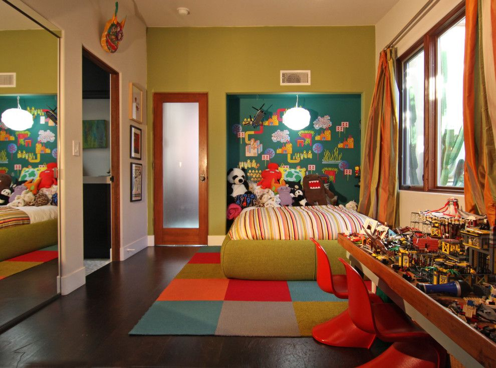 Ikea Brimnes Bed for a Eclectic Kids with a Wall Decals and Green Walls and Pops of Color for a Fun Kid Room by Flea Market Sunday