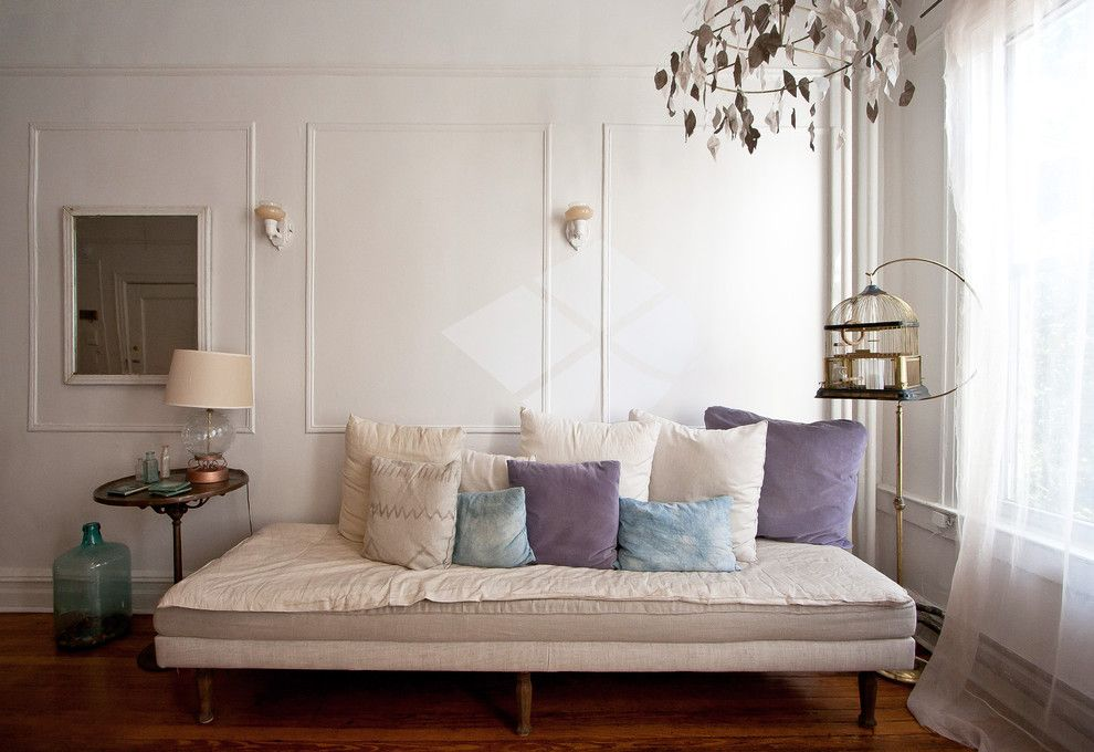 Ikea Brimnes Bed for a Eclectic Living Room with a Demijohn and Aya's Boerum Hill Home by Chris a Dorsey Photography