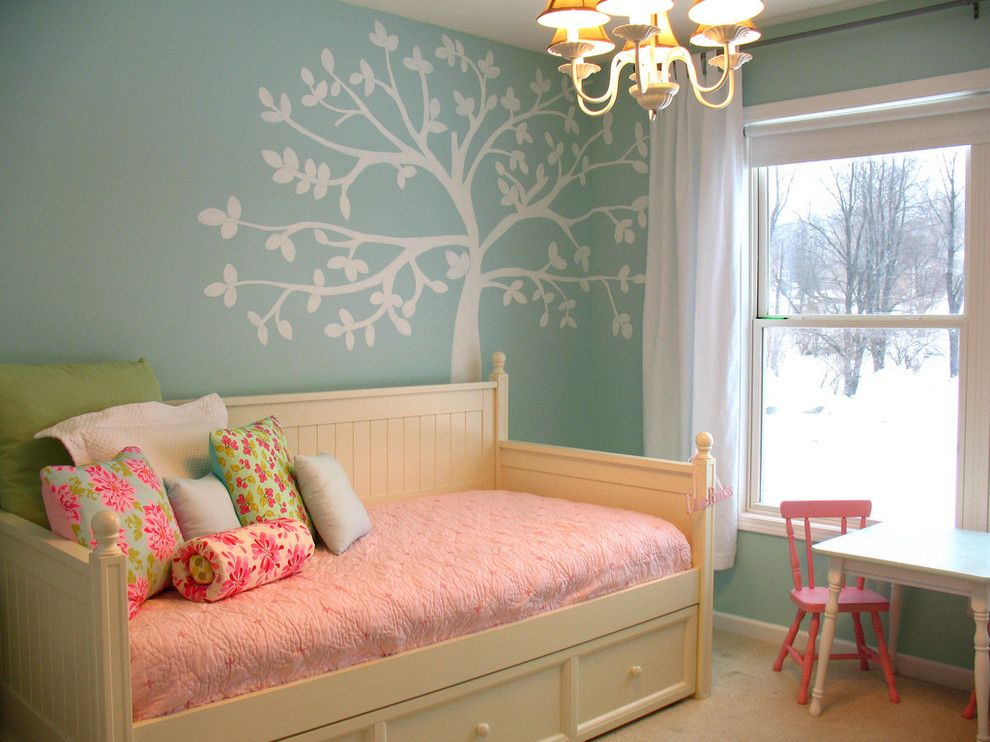 Ikea Brimnes Bed for a Traditional Kids with a Wall Mural and Just a Girl by Just a Girl