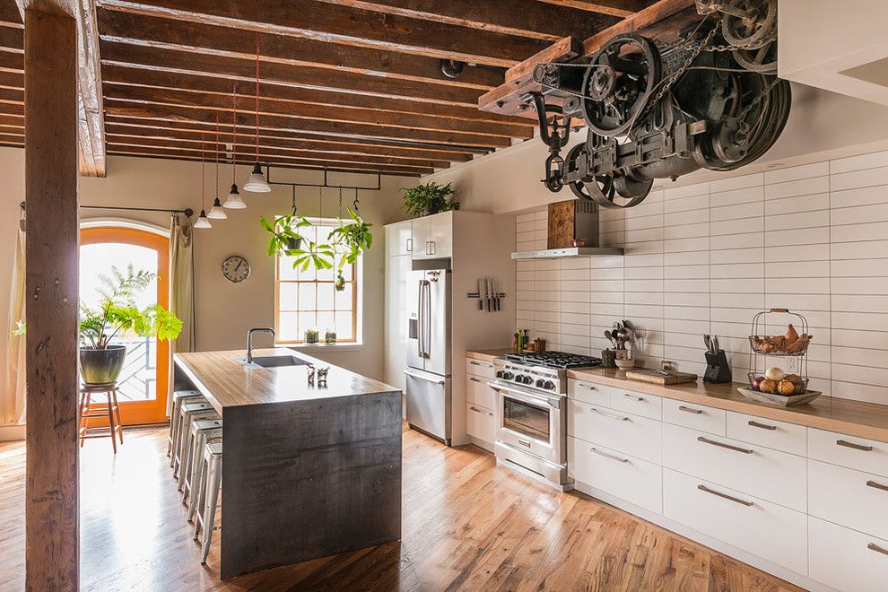 Ikea Dishwasher for a Industrial Kitchen with a Beamed Ceiling and Pickle Factory by Bright Common Architecture & Design