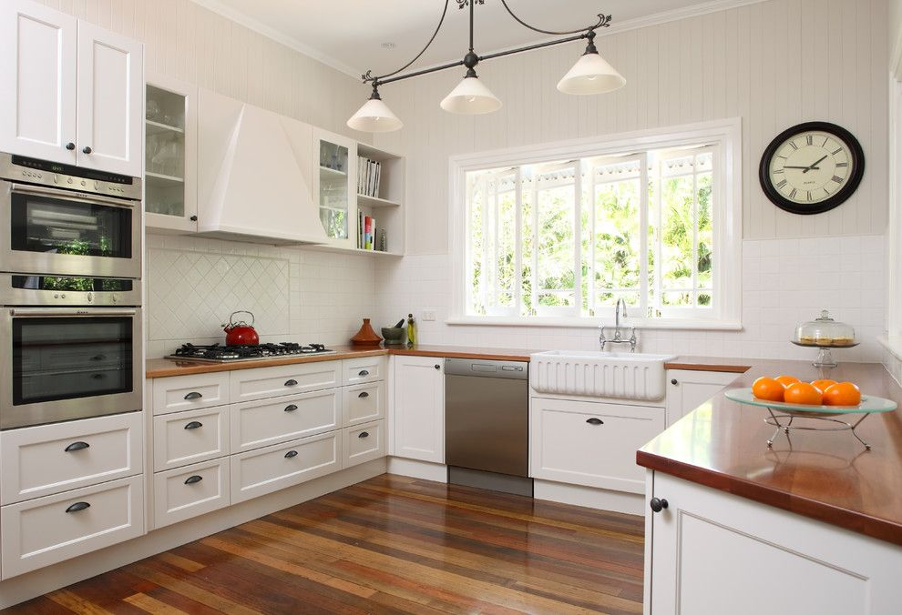 Ikea Dishwasher for a Transitional Kitchen with a Wood Counters and Contempory Colonial by Kim Duffin for Sublime Architectural Interiors