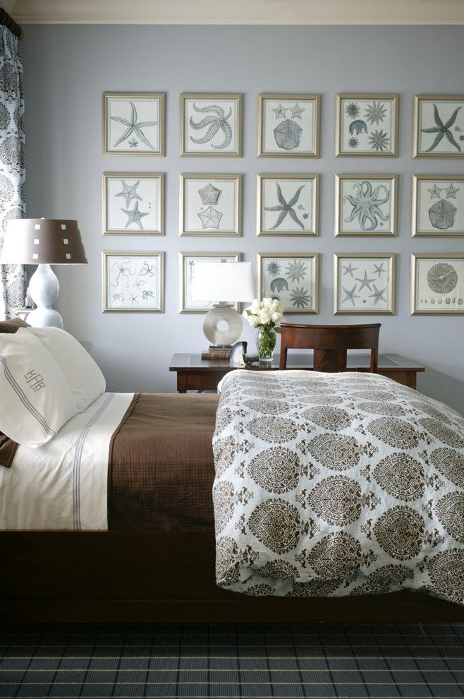 Ikea Duvet Cover for a Beach Style Bedroom with a Blue and Brown and Mediterranean by Tobi Fairley Interior Design