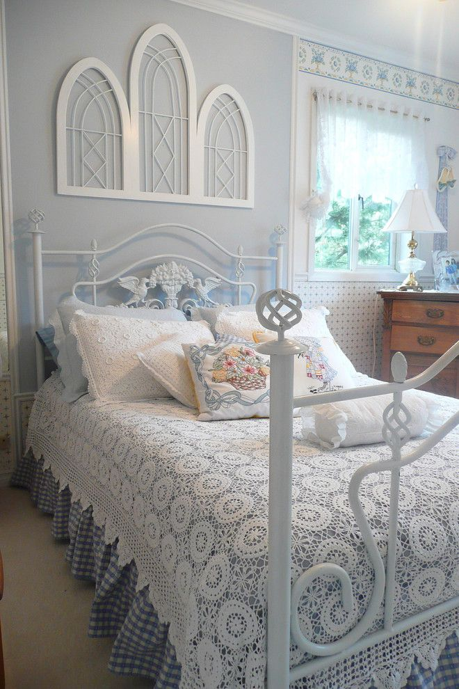 Ikea Duvet Cover for a Shabby Chic Style Bedroom with a Throw Pillows and Frenchflair by Michelle