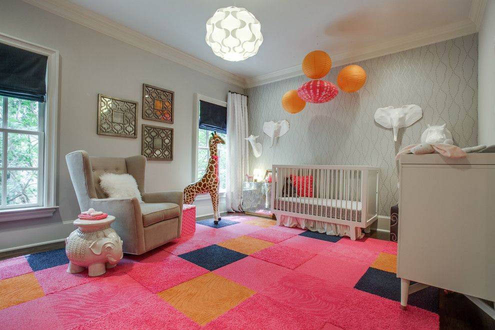 Ikea Lack Side Table for a Contemporary Nursery with a Hot Pink Rug and Blu Sky Living Interior Design & Staging by Blu Sky Living