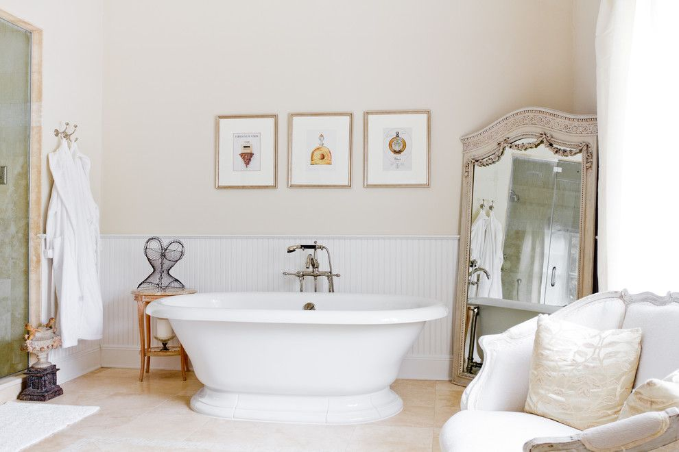 Ikea Lack Side Table for a Traditional Bathroom with a Floor Mount Faucet and My Houzz: Iris Dankner by Rikki Snyder