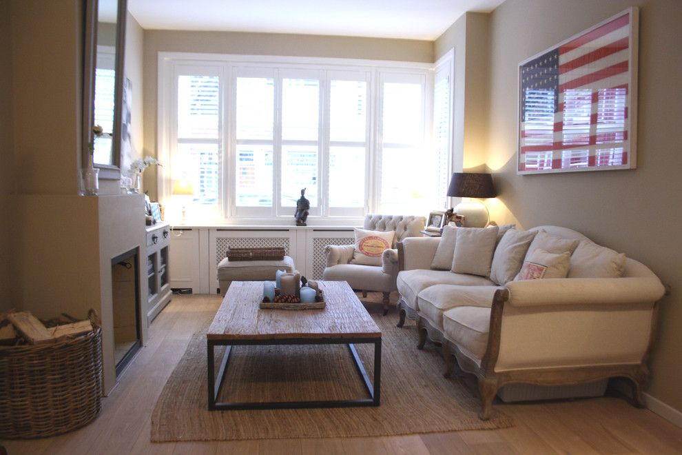 Ikea Lack Side Table for a Traditional Living Room with a Natural Wood Floor and Houzz Tour: Cheerful Family Home Shines with Vintage Touches by Holly Marder