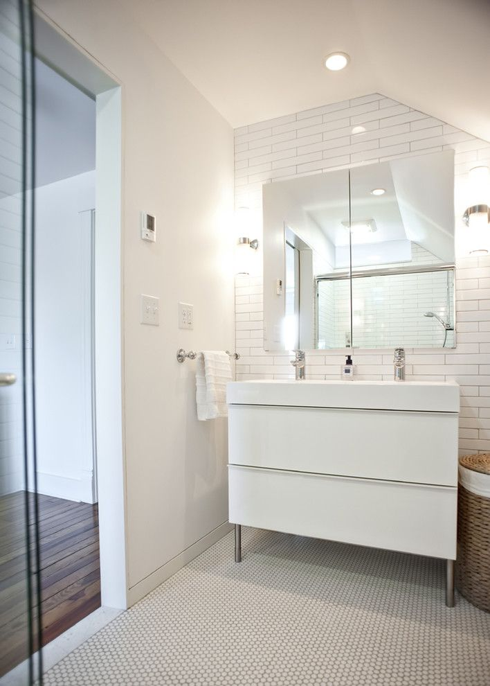 Ikea Led Bulbs for a Modern Bathroom with a Sconce and Modern Bathroom Vanity by Rock Paper Hammer