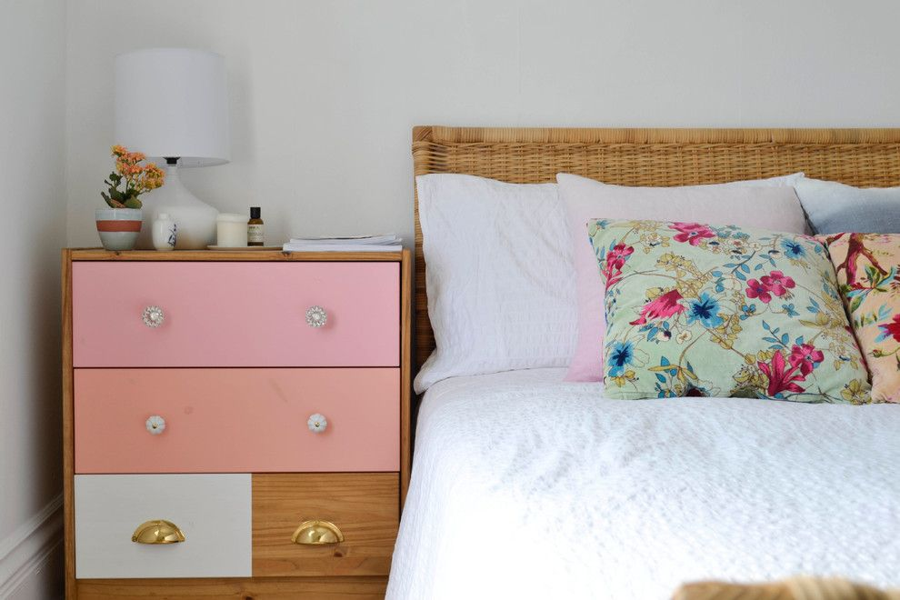 Ikea Malm 6 Drawer Dresser for a Eclectic Bedroom with a Eclectic and My Houzz: Creative Flair Brightens a San Francisco Apartment by Planning Pretty