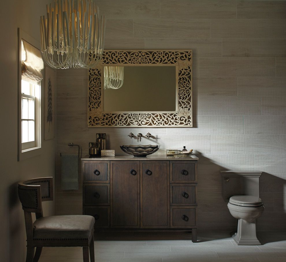 Ikea Malm 6 Drawer Dresser for a Traditional Bathroom with a Carved Mirror and Kohler by Kohler