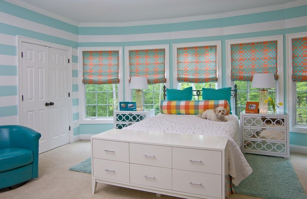 Ikea Malm 6 Drawer Dresser for a Traditional Kids with a Roman Shades and Girl's Bedroom by Simply Wesley, Llc