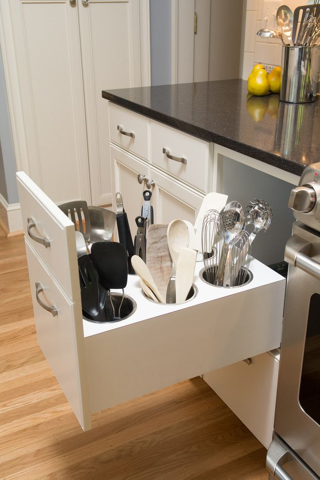 Ikea Malm 6 Drawer Dresser for a Traditional Spaces with a Storage and Creative Utensil Storage by Kirstin Havnaer, Hearthstone Interior Design, Llc