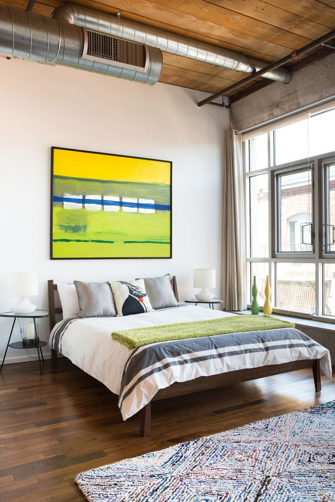 Ikea Malm Bed Frame for a Industrial Bedroom with a Area Rug and Loft # 2, Downtown Los Angeles by Modiano Design