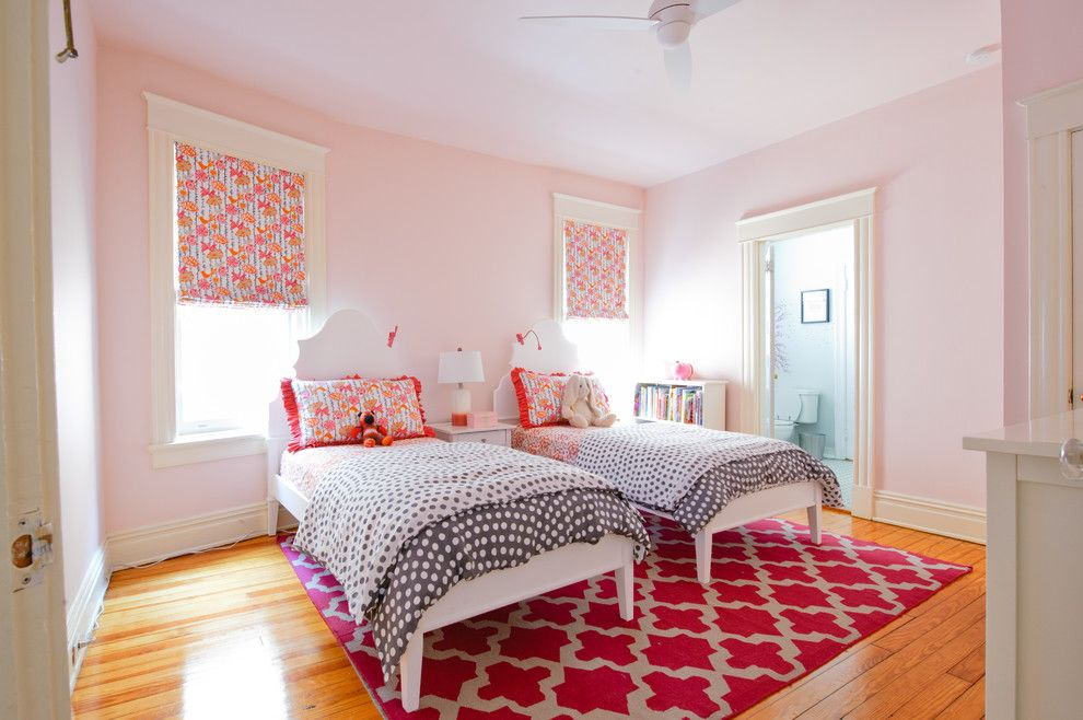 Ikea Malm Bed Frame for a Transitional Kids with a White Twin Beds and Thompson by Kelly Brown Interiors