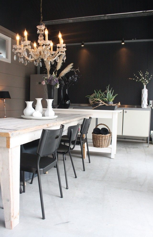 Ikea Norden Table for a Contemporary Dining Room with a Vases and My Houzz: Country Chic Family Home in the Netherlands by Holly Marder